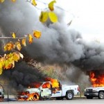 RCMPig cars burned after violent police raid Oct. 17th, 2013 Elsipogtog
